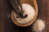 pic of vanilla  - vanilla sugar and vanilla beans on wooden spoon - JPG