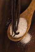 image of vanilla  - vanilla sugar and vanilla beans on wooden spoon - JPG