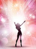 Silhouette of a sexy female on an abstract background