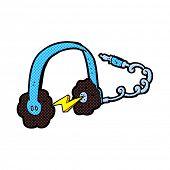 retro comic book style cartoon headphones