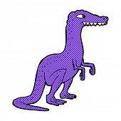 retro comic book style cartoon dinosaur