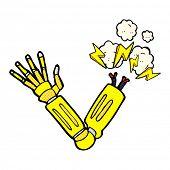 retro comic book style cartoon robot arm