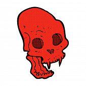 retro comic book style cartoon spooky vampire skull