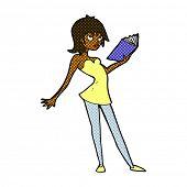 retro comic book style cartoon woman reading book