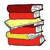 retro comic book style cartoon pile of books