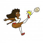 retro comic book style cartoon female soccer player kicking ball
