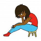 retro comic book style cartoon woman sitting on small stool
