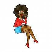 retro comic book style cartoon office woman sitting