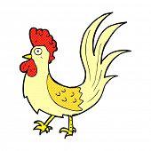 retro comic book style cartoon cockerel