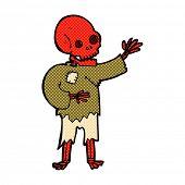 retro comic book style cartoon skeleton waving