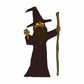retro comic book style cartoon spooky wizard