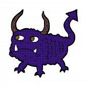 retro comic book style cartoon little demon