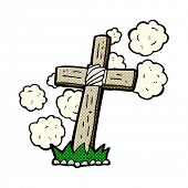 retro comic book style cartoon wooden cross grave
