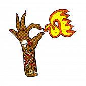retro comic book style cartoon tattoo arm fire symbol