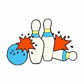 retro comic book style cartoon bowling ball and skittles