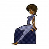 retro comic book style cartoon pin up pose girl