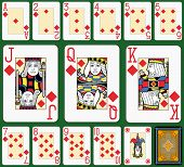 Playing cards, diamonds suite, joker and back. Faces double sized. Green background.