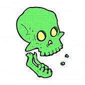 retro comic book style cartoon laughing skull