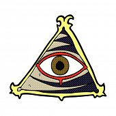 retro comic book style cartoon mystic eye symbol