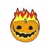 retro comic book style cartoon spooky pumpkin
