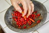 foto of pestle  - Making sambal - JPG