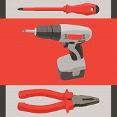 Instrument tool set - screwdriver, drill and pliers