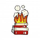 retro comic book style cartoon old books burning