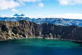 Ilinizas Volcanos Under The Quilotoa Lagoon, Andes. Ecuador