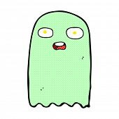 funny retro comic book style cartoon ghost
