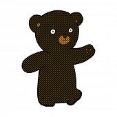 retro comic book style cartoon black bear cub