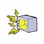 retro comic book style cartoon microwave