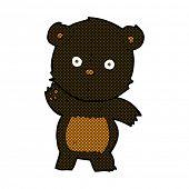 cute retro comic book style cartoon black bear