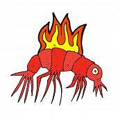 retro comic book style cartoon hot shrimp
