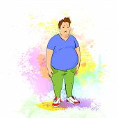 fat overweight sport man over colorful splash paint background