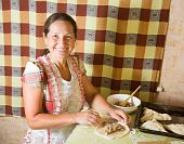 Woman Making  Meat Pasty