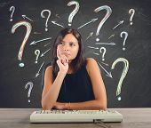 stock photo of thinking  - A businesswoman thinks and does the questions - JPG