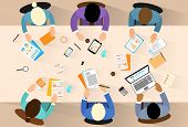 Business people workplace top angle above view sitting at office desk work vector illustration