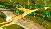 stock photo of pteranodon  - Flying pterodactyl over the land - JPG
