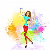 woman listen to music dance hold player casual over colorful splash paint background