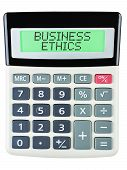 foto of ethics  - Calculator with BUSINESS ETHICS on display isolated on white - JPG