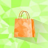 shopping bag polygon style design vector