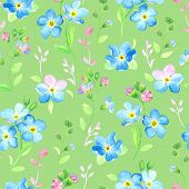 Watercolor seamless pattern with forget-me-not on green background.