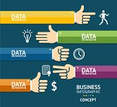 Vector business infographics with hands. Flat