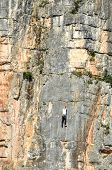Man Is Climbing A Rock Wall In The Wild. Holding On To  A Ledge