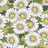 Retro Colorful Daisy Seamless Pattern