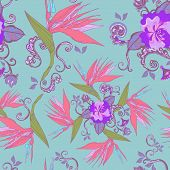 Modern Bird Of Paradise Flowers Seamless Pattern