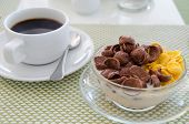 Chocolate Cornflakes Corn Flakes With Milk And Coffee