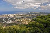 picture of filerimos  - View from Ialyssos monastery overlooking the towns of Kremasti and Trianda and the Mediterannean Sea - JPG