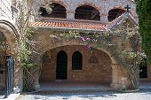 pic of filerimos  - Cloisters and Medieval Frescoes at Ialyssos monastery on the Greek island of Rhodes is built at the top of Mount Filerimos - JPG