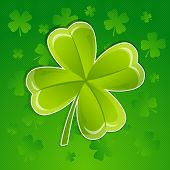 Greeting card with leaf of clover